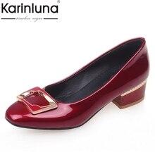 KarinLuna Office Lady Bombas de Tamaño Grande 32-46 Moda Vintage Plaza Zapatos Menos Plataforma Bombas Tacones Gruesos Del Otoño Del Resorte