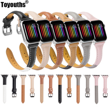 Toyouths Genuine Leather Watch Strap For Apple 4 Band 38mm 42mm Slim Coloured for iwatch Series 3 2 1