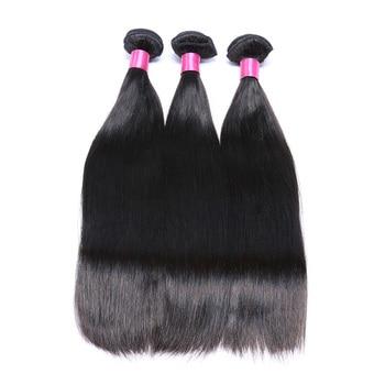 Brazilian Straight Remy Hair Bundles 3 Bundles Natural Color Human Hair Salon Bundle Hair  1