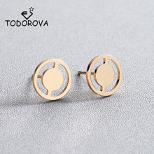 Todorova New Arrival Wheel Circle Stud Earrings for Women Fashion Jewelry Geometric Round Earring Oorbellen Brincos Bijoux