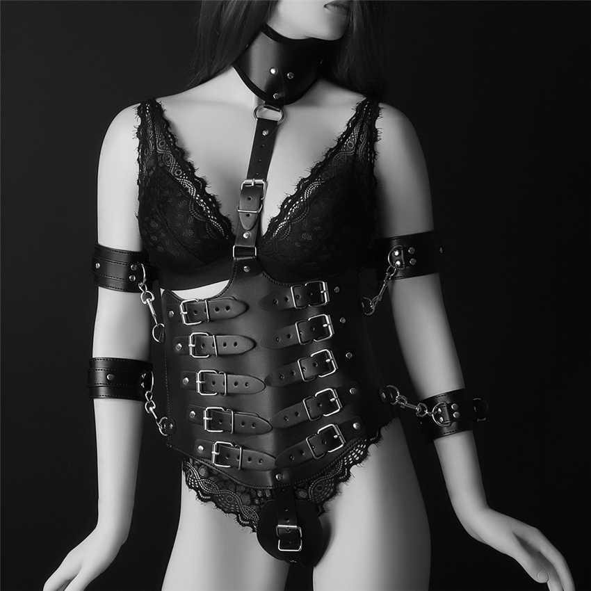 d7a79794d1 ... BDSM BONDAGE HARNESS BRA Set Black Pu Leather Harness Women Sexy  Harajuku Punk Goth Lingerie Party ...