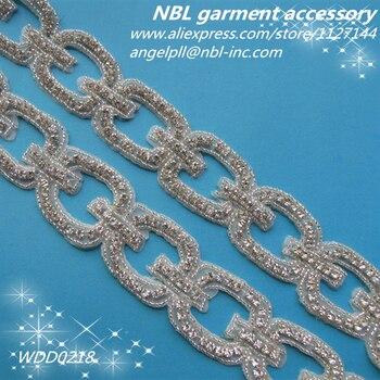 crystal bridal rhinestone beaded applique trim for wedding dress WDD0218