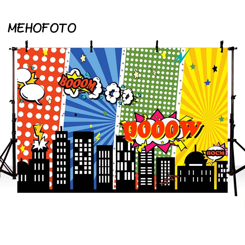 MEHOFOTO Superhero Backdrops for Photography Birthday Party Boom Cartoon City Photo Background for Pictures Room Decorate 7x5ft
