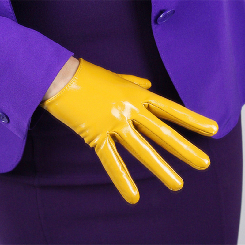 Patent Leather Short Gloves 16cm Ultra Short Simulation Leather Mirror Bright Leather Fashion Ginger Yellow Bright QPJH02