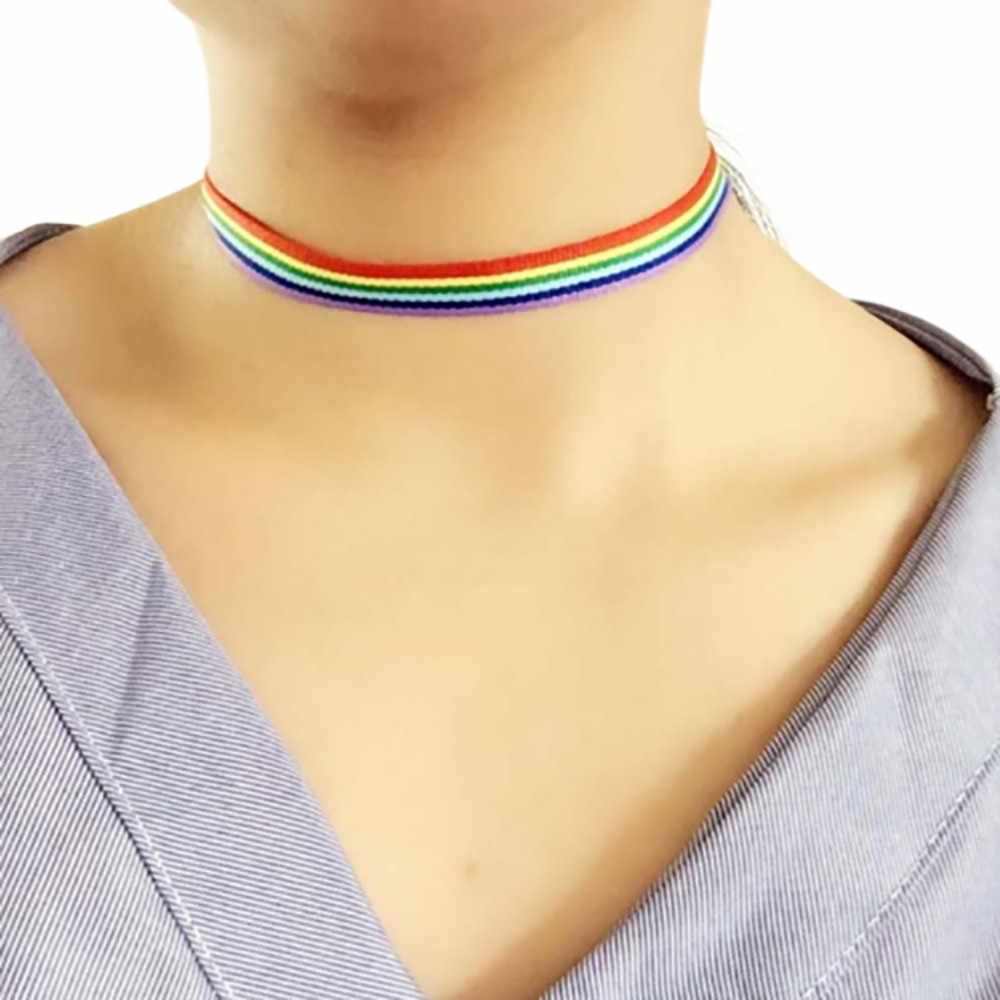 Rainbow Choker Necklace Gay Pride LGBT Clavicle Chain Ribbon Simple Necklace N.29