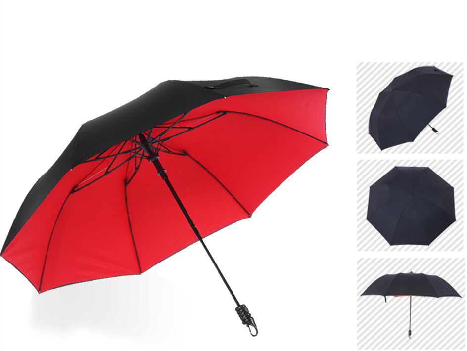113cm (2pcs/lot)75T parasol visible double layers double bridge carbon fiberglass two fold auto open hook mini golf umbrellas