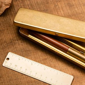 Image 4 - vintage Brass Handcrafted Pen Pencil Case Holder Stationery Storage Box Stationery Container Creative school Office Supplies