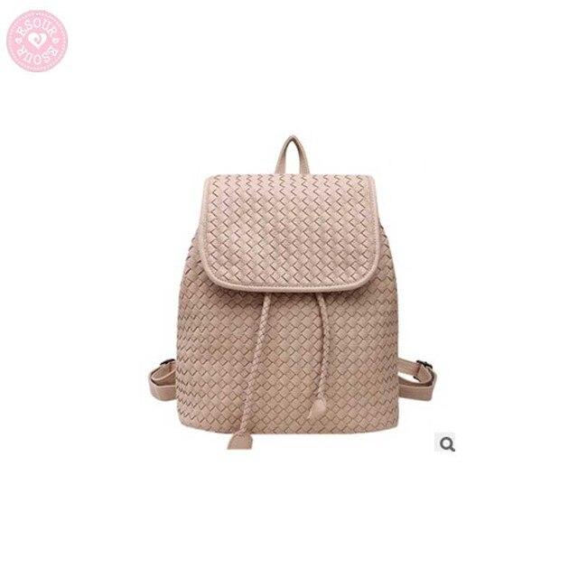 De tejido patrón de cuero mochila kintting backbag escuela estilo ...