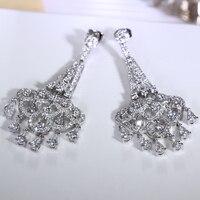 宮殿ロマンチック房ドロップイヤリング高品質ファッションジュエリー立方ジルコンゴールド/ホワイト色ボヘミア大きなイヤリングのための女