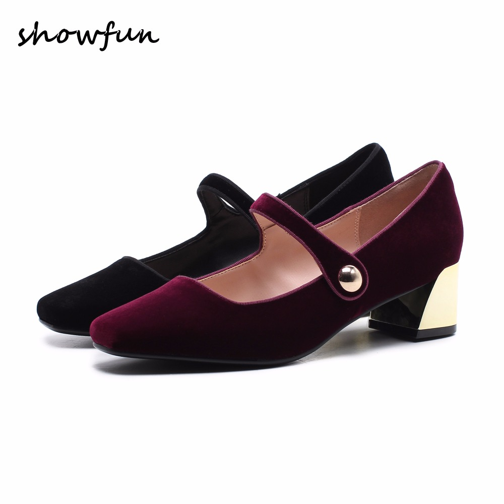 Women's velvet med heel comforable mary jane pumps brand designer round toe spring new female cute footwear shoes for women sale mary jane sterling u can algebra i for dummies