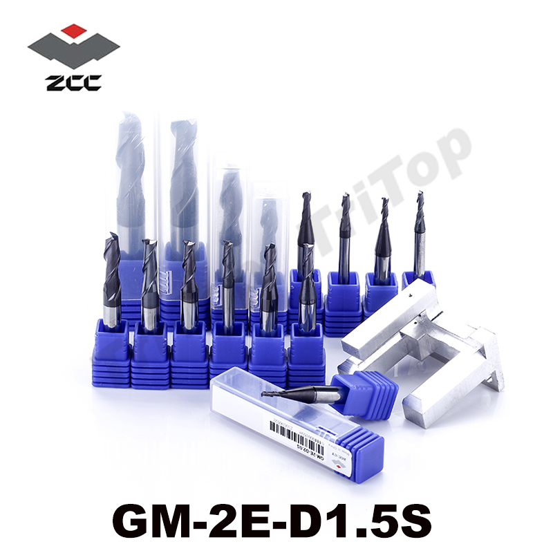 5pcs/lot free shipping  ZCC GM-2E-D1.5S  tungsten Carbide cutter 2 flute end mills with straight shank cnc mills cutting tools  цены