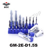 5pcs/lot free shipping  ZCC GM-2E-D1.5S  tungsten Carbide cutter 2 flute end mills with straight shank cnc mills cutting tools