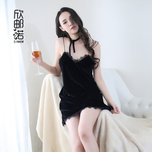 Women's Exotic Apparel Elastic Deep-v Neck Backless Volvet Night Dress Sexy Night Gown Sexy Lingerie Night Club Dress