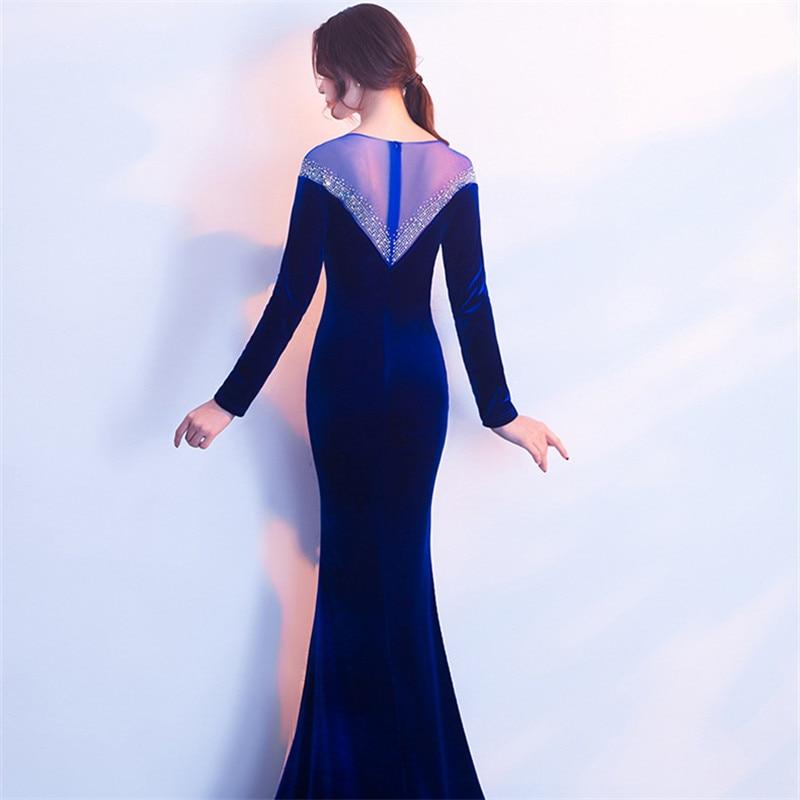 It's Yiiya Evening dress Royal Long sleeves O-neck Trumpet Party Gown Elegant Floor-length Crystal Zipper back Prom dresses C180