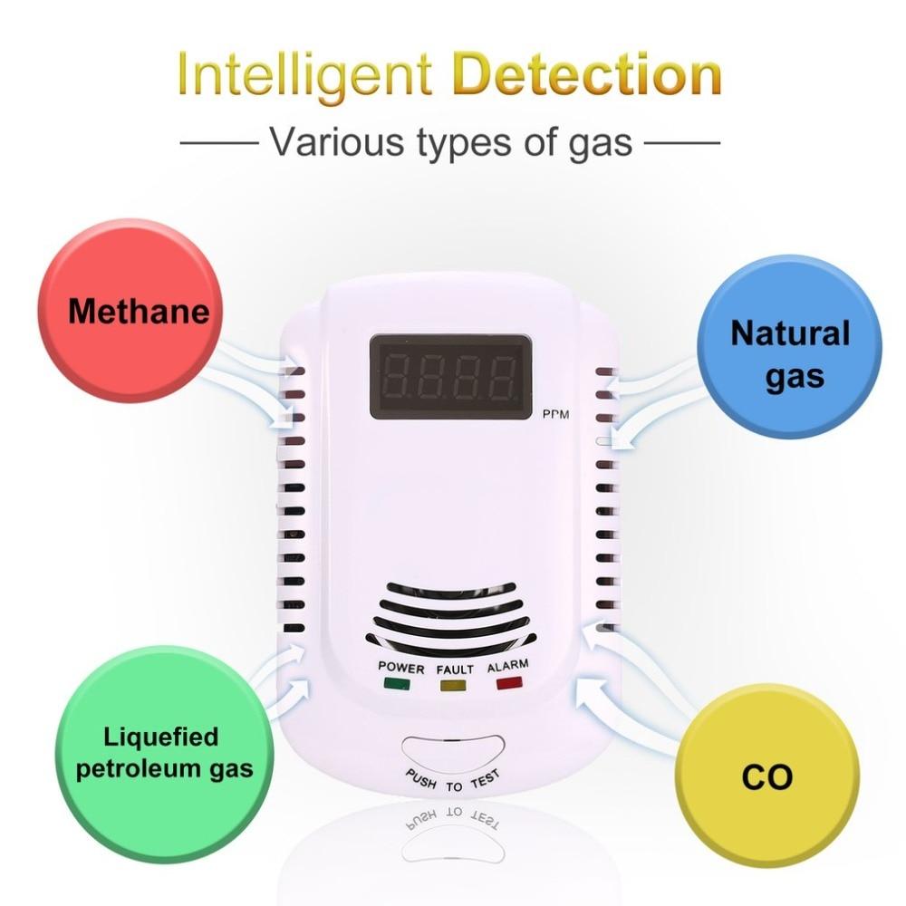 Brennbare Gas Detektor Sensor LPG Natürliche Gas Analyzer Leck Bestimmen Tester Sound-licht Alarm Sicherheit Alarm System EU Stecker