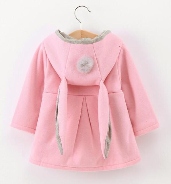 2018 Winter autumn baby hoodies sweatshirts kids Long sleeve 3D Rabbit ear coat Casual Outerwear girl clothing