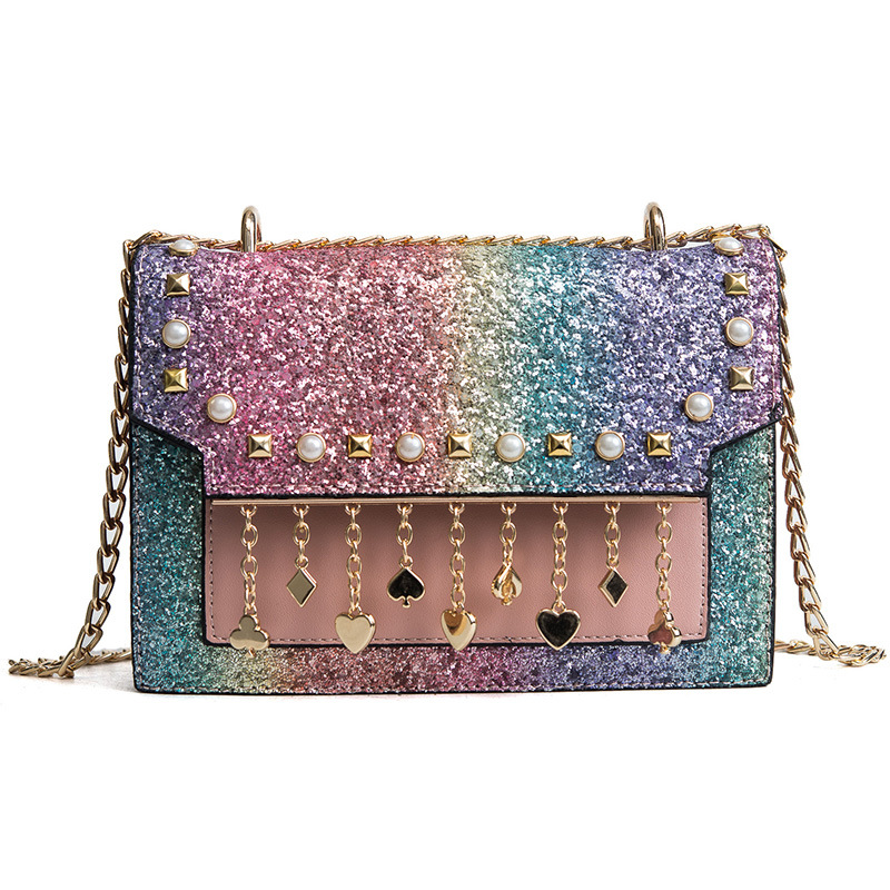 Small Flap Bag Sequins Crossbody Bags With Pearl Casual Chain Leather Messenger Bag For Women Shoulder Bag 2018 Brand Fashion