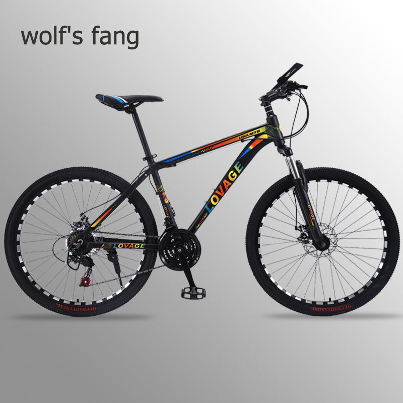 wolf's fang Mountain Bike 21 speed bicycle 26 Fat Bikes road bike Aluminum Alloy Resistance Rubber man bicycles Free shipping