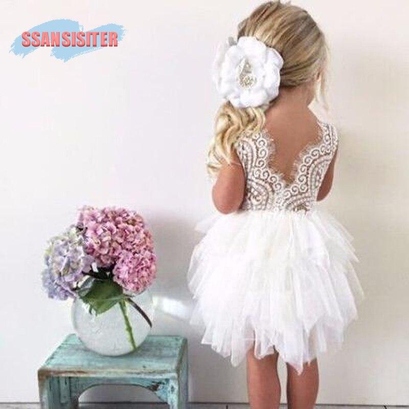 Las muchachas del niño Vestidos de la torta del cordón niños princesa Tutu vestido Backless partido vestido 1st cumpleaños Vestidos Infantil Enfant 1-6Y