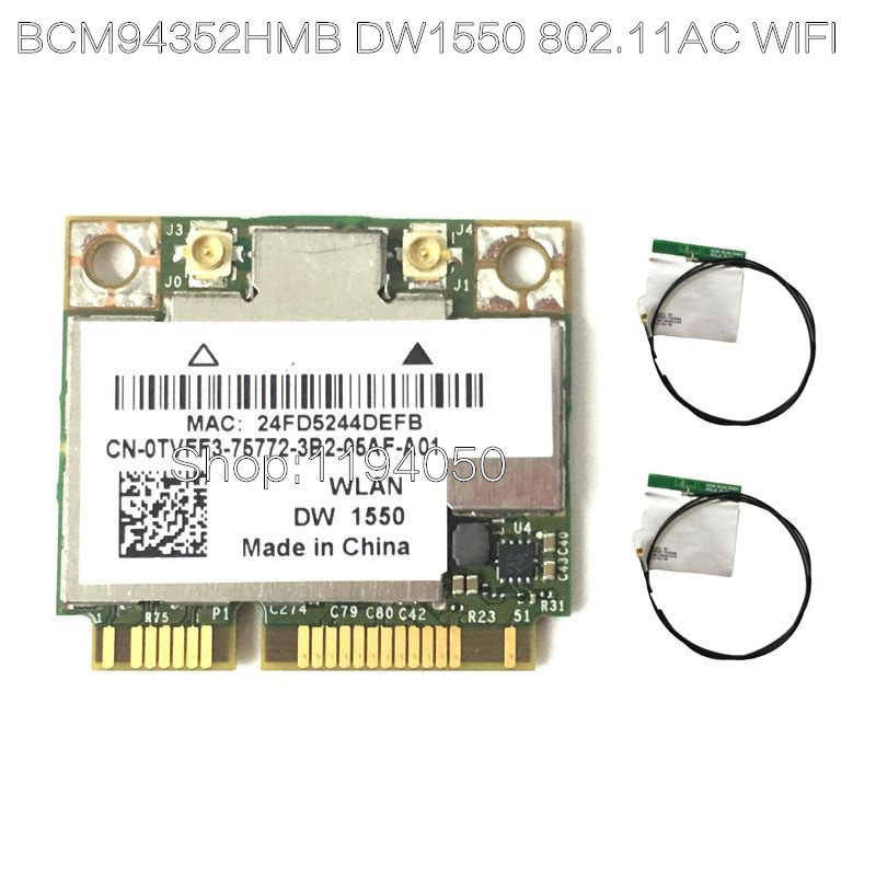 New Broadcom BCM94352HMB D E L L  DW1550 WiFi Card + Bluetooth 4.0 867Mbps WLAN Wireless-AC 867Mbps 802.11ac PCI-E 2.4GHz  5GHz