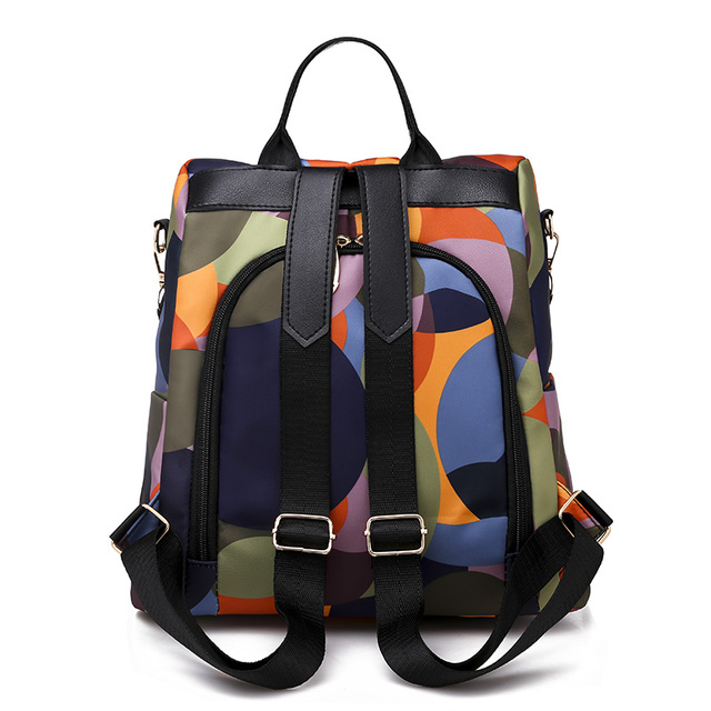 High Quality Waterproof Oxford Women Backpack Fashion Colored circles 5