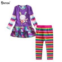 Dxton 2PCS Children Clothing Sets for Girls Long Sleeve Rabbit Girls Dress with Rainbow Leggings Winter Girls Clothes Sets 2-8Y cheap Princess O-Neck Pullover Q91102-F5508 COTTON Full REGULAR Fits true to size take your normal size Shorts cartoon Girl long sleeve dress