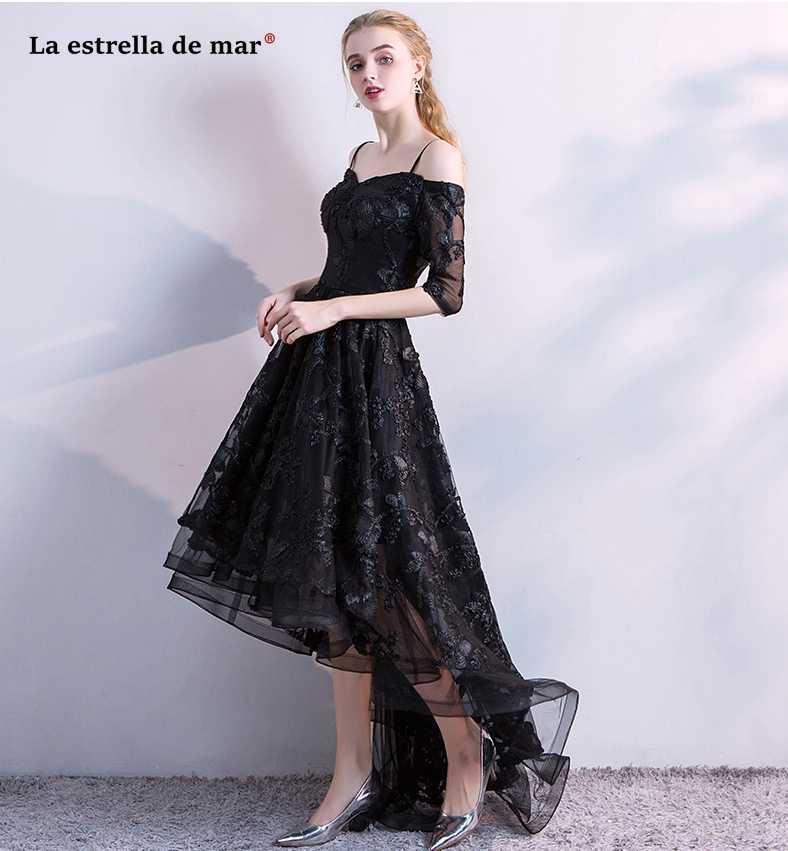 04c575a1b244e ... vestido formatura2018 New lace in the sleeve high low black prom dresses  plus size robe de ...