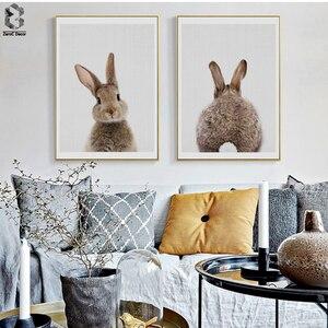 Картина на холсте с кроличьим хвостом, настенное художественное изображение животных, Постер и печать в скандинавском лесу, для детей, для м...