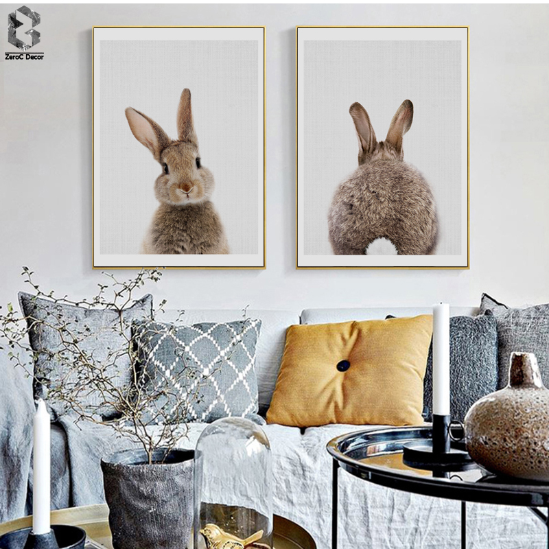 The Latest  Rabbit Tail Canvas Painting Nursery Wall Art Animal Poster and Print Nordic Woodland Picture for Ki