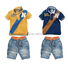2016 nouveau bébé set vêtements enfants sport définit T shirt + jean pantalons mode enfants vêtements bébé garçon vêtements costume