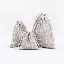 1pcs Men Grey Plaids Pattern Drawstring Cotton Linen Travel Shaver Sunglass Storage Bag Underwear Organizer Coins
