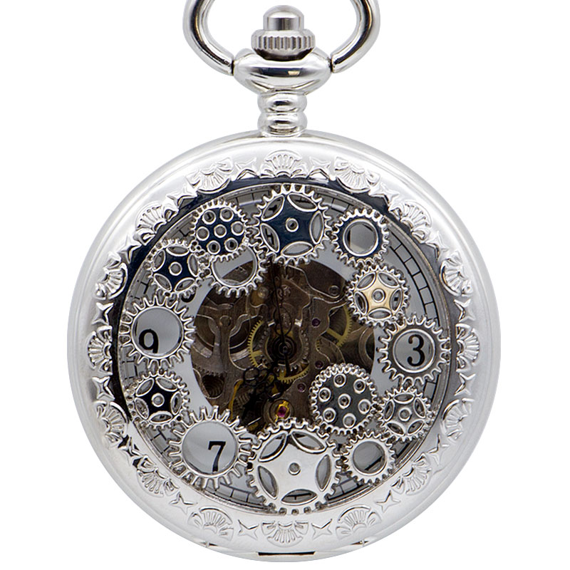 Drop Shipping Silver Double Open Design Mechanical Pocket Watches Roman Number Display Skeleton Fob Watch With Necklace Watch