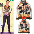 Bigbang Stars Design Hood By Air HBA Jacket Men Women Hip Hop Brand Clothing Coconut Trees Printing GD HBA Baseball Jacket&Coats