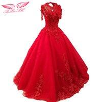 AnXin SH rosso del fiore del merletto abito da sposa champagne bordare abito da sposa della principessa pizzo bianco abito da sposa 100% Foto Reali xj0036