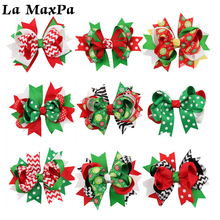 2 Pcs/Lot Christmas Print Babybow HairClips Boutique Handmade Bow Baby Clothing For Kids Party Hair Accessories