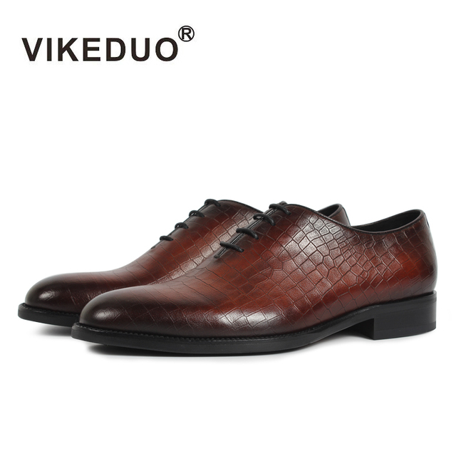 VIKEDUO 2019 Vintage Formal Dress Shoes Men Plaid Wedding Office Shoe Male Genuine Leather Footwear Oxford Patina Zapatos Hombre