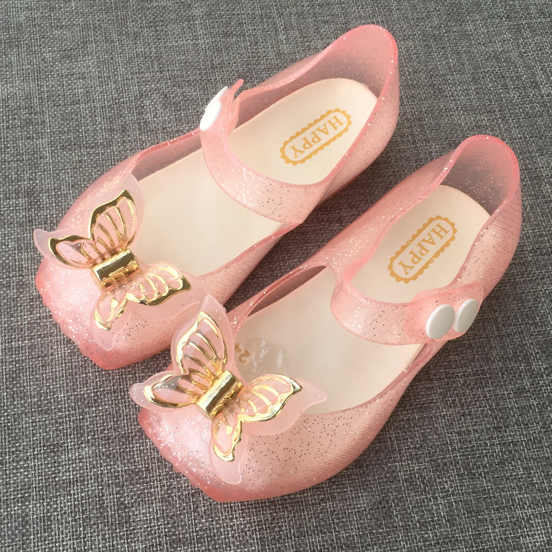 2017 new children ballet dancing shoes girl crystal jelly bow bow baby princess sandals ...
