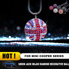 Car RearView Mirror Crystal Bling Diamond Round Ball Pendant Hanging Decoration for Mini COOPER JCW S One Countryman Clubmam F55