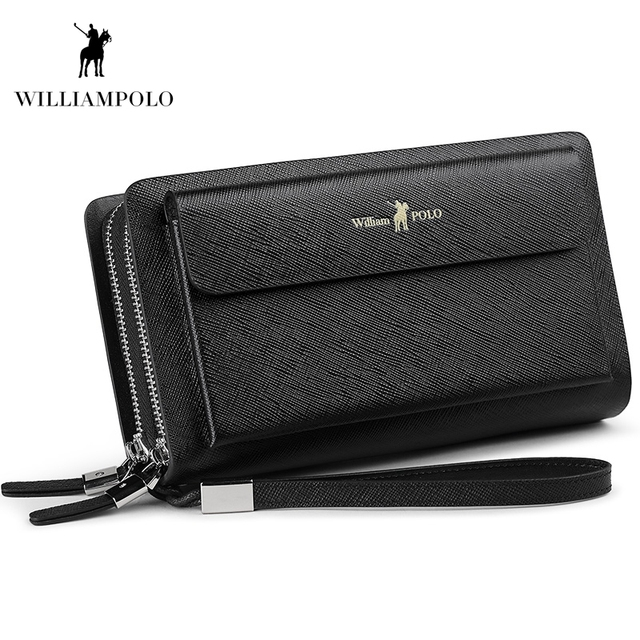 WILLIAMPOLO 2018 Leather Fashion Clutch Bag iPhone 8 Holder Portemonnee Men Wallet 21 Card Holder Wallet POLO312