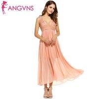 ANGVNS Formal Sequins Flare Dresses Women Elegant Chiffon Sleeveless Deep V-Neck Pullover Maxi Dress Lady Party Vestidos Robe