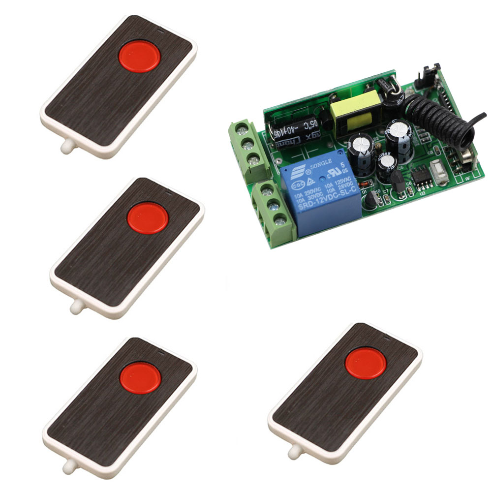 Wide Voltage AC 85V 110V 220V 250V 1CH RF Wireless Switch Relay Receiver Remote Controllers & Light Switch With 4*Transmitters ac220v rf wireless remote control switch mini 1ch 1 ch relay receiver switch rf on off 4 receivers with 4 transmitters