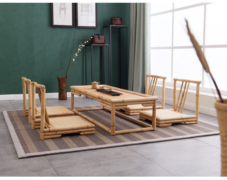 Hand Crafted Modern Rattan Bamboo Furniture Floor Table Japanese Style Tatami Coffee Tea Living Room