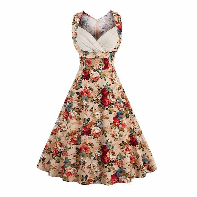Kenancy Women Rockabilly Vintage Dress Audrey A Line Retro dress ...