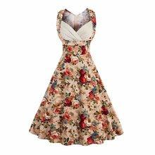 246c91862c7 Kenancy Women Rockabilly Vintage Dress Audrey A Line Retro dress Plus Size  Cotton Golden Floral Print Party Feminino Vestidos