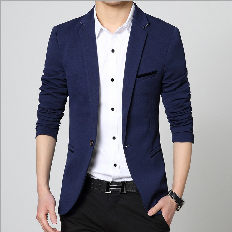mens korean slim fit fashion cotton blazer suit jacket black blue beige plus size m to 5xl male. Black Bedroom Furniture Sets. Home Design Ideas