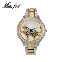 Miss Fox Brand Diamond Womens Watch Brands Fashion Quartz Gold Watch Women Water Resistant Ladies Wrist Watches relojes mujer