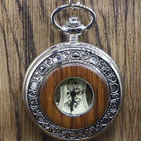 Vintage Steampunk Skeleton Mechanical Pocket Watch Wooden Watches Gear Hollow Pendant Necklace With Chain Women Men
