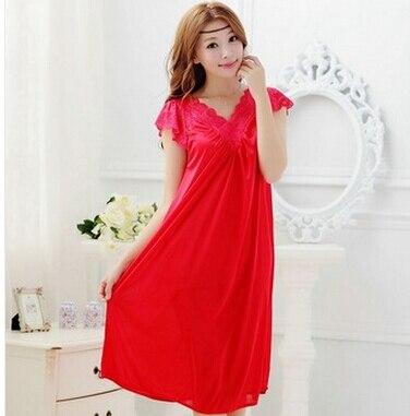 Free shipping women White lace sexy nightdress girls plus size Large size Sleepwear nightgownY02-1 1