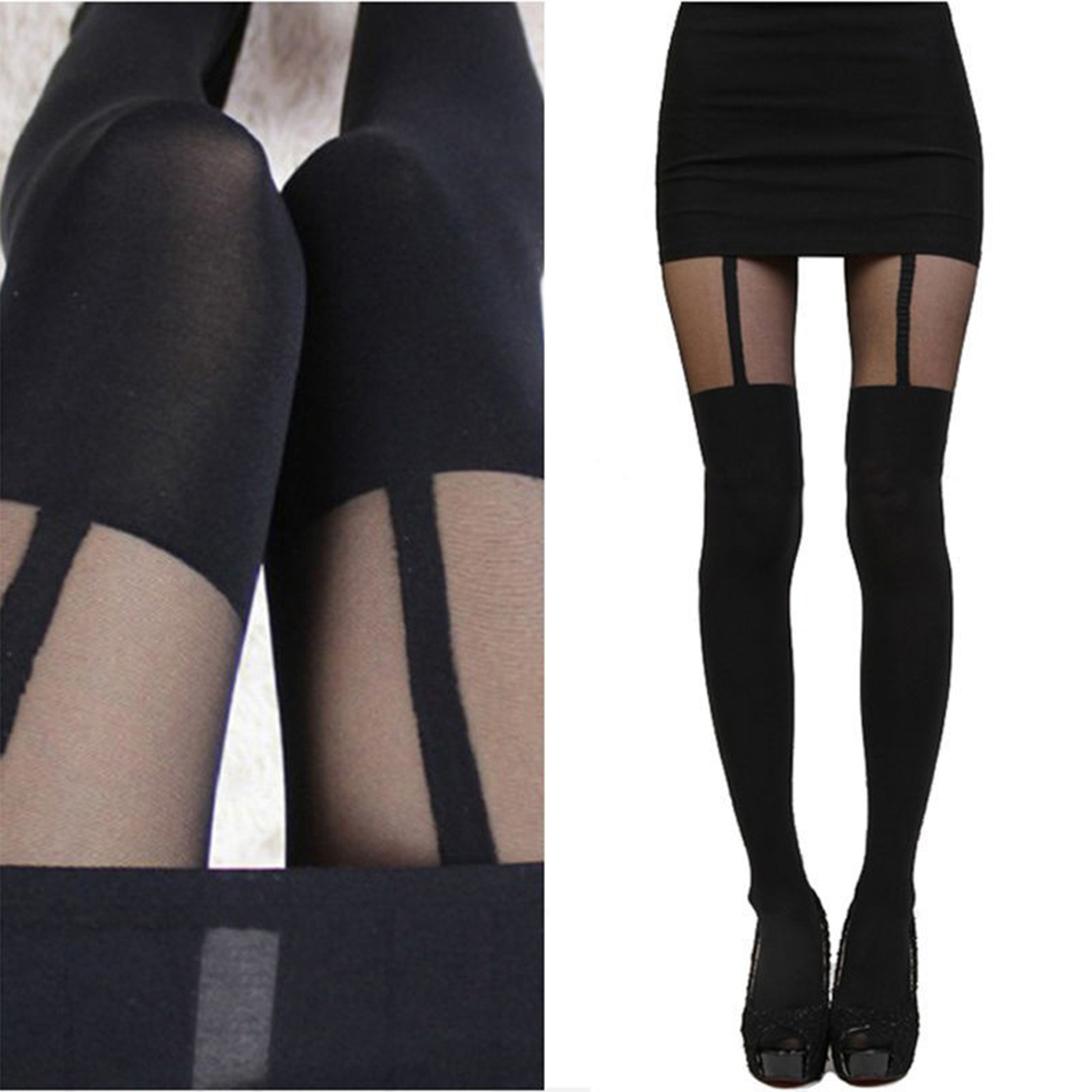 Latest Mock Suspender Tights Highly Patchwork Shiny Pantyhose Tights Stockings Patterned High Knee Pantyhose for Female