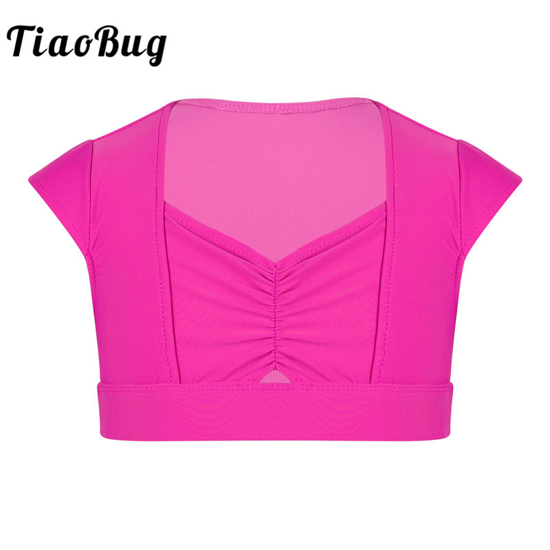 TiaoBug Girls Cap Sleeves Dance Crop Top Children Solid Color Gymnastics Workout Ballet Tops Kids Stage Practice Dance Costumes